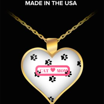 *Attention Cat Moms* Turn Your Jewelry into a Piece of Purrrfect Cat Art! Hint: Pawfect Present for Cat Lovers - Cat Mom Heart Necklace White