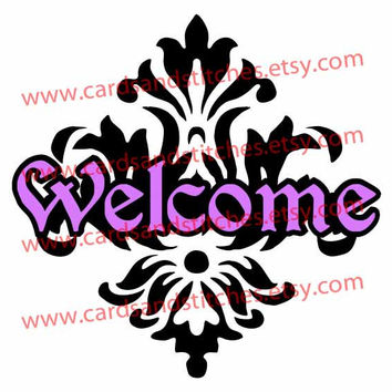 Welcome Damask Digital Cutting File (SVG, DXF, JPG)