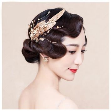 Gold Wedding Tiara Bridal Hair Comb