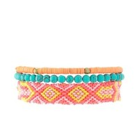 Coral Sequin, Bead & Friendship Bracelets - 3 Pack by Charlotte Russe