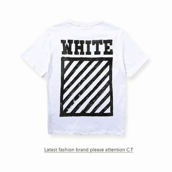 Off White Short Sleeve Stripes Couple T-shirts [10262368083]