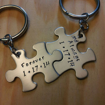 Hand Stamped Keychain - Personalized Keychain Forever and Always with Dates Couples Puzzle Piece