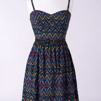 Tribal Belted Sleeveless Dress