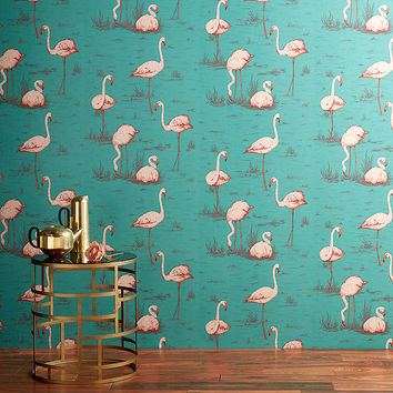 Cole & Son Flamingos Walllpaper, Jade / Plaster Pink / Burnt Orange JL1/958049 at John Lewis
