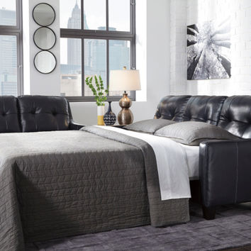 Okean collection navy colored leather match upholstered queen sleeper sofa with squared arms