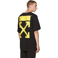 OFF WHITE Pattern Loose Scoop Neck T-Shirt Top