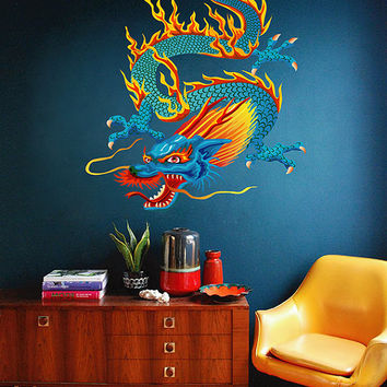 kcik1628 Full Color Wall decal Japanese dragon mythical creature living room bedroom