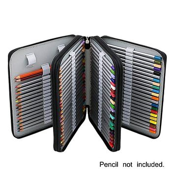 Portable 124 Holders 4 Layer PU Color Pencil Storage Case Large Capacity Art Accessory