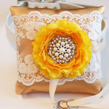 Gold and Yellow Wedding Ring Pillow, Dog ring bearer pillow, Gold Wedding idea, Ring Pillow attach to dog Collar, Pet wedding accessory