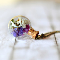 Forget Me Not Necklace - Real Flower Globe Bottle Pendant, Botanical Necklace, Glass Bottle Pendant , Dried Flowers Necklace