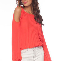 Unfolded Shoulder Top in Sea Green :: tobi