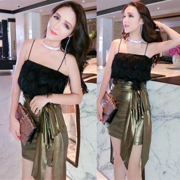 Women's Summer tassel sexy gold slim tube Bra One Piece Dress a13892