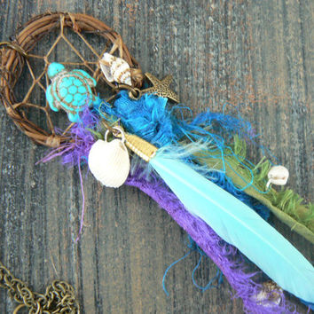 sea turtle dreamcatcher necklace gift starfish turquoise turtle sari boho hipster hippie gypsy beach native american inspired style