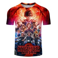2018 Fashion Stranger Things Print Funny Men T-Shirt 3D Character Design Mens T Shirt Summer Hipster Top Homme Tees Asian size