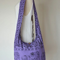 Purple - Bohemian Hippie Elephant Printed Cotton Crossbody Bag Sling Handmade Shoulder Bag Boho Hobo Messenger Bag Purse E125