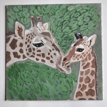 Giraffe Acrylic Painting. Nursery Room Decor. Safari Wildlife Artwork