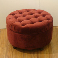Round Storage Ottoman Button Tufted Living Room Furniture Berry Velvet Finish