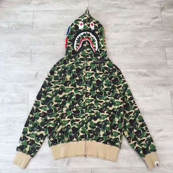 BAPE ABC SHARK Casual Fashion Sport Camouflage Long Sleeve Hooded Sweater Green G-CN-CFPFGYS