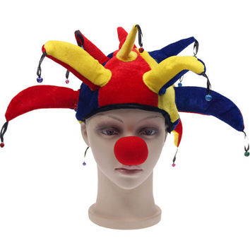 Colorful Halloween Party Clown Hat With Small Bell Carnival Funny Costume Ball Funny Unisex Cap For Football Game