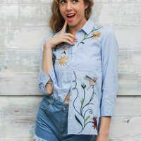 Blue Floral Embroidered 3/4 Blouse