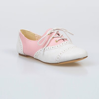 Baby Pink & White Color Block Emmie Saddle Shoes