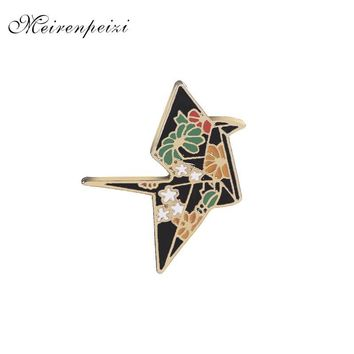Trendy replicate Crane pins in brooches Enamel Origami pins Badge Denim Jackets pin flower crane pin brooch for backpack jeans 2018 AT_94_13