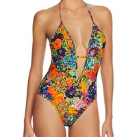 MILLY Acapulco Floral Print Halter One Piece Swimsuit | Bloomingdales's