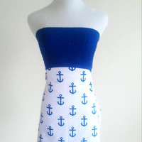 Blue Anchor strapless summer dress