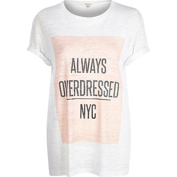 River Island Womens White always overdressed NYC print t-shirt
