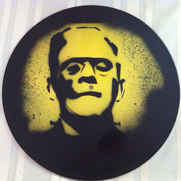 Frankenstein's Monster Record Painting in Yellow