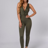 Down Low Jumpsuit - Olive