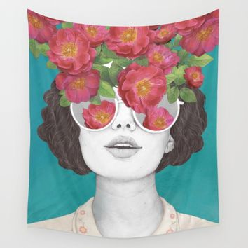 The optimist // rose tinted glasses Wall Tapestry by Laura Graves