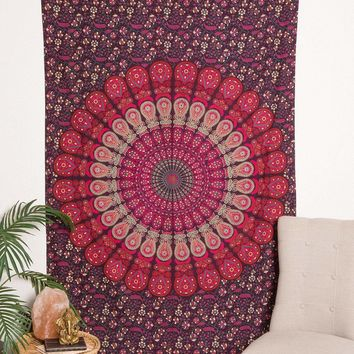 Peacock Mandala Curtain - Purple