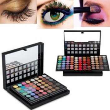 Professional 78 Color Combinations Sliding Box Makeup Palette Set (Eyeshadow+concealer+Lip+Blush Powder+Trimming Powder) (Color: Black) [8321395975]