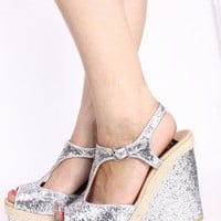 SILVER SPARKLY GLITTER PEEP TOE T STRAP WEDGES