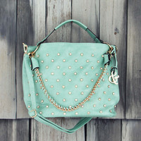 Stormy Skies Studded Tote in Mint