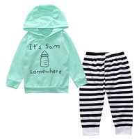 2017 Sping Baby Sets baby boys clothing set Children hoodies+pants thicken Seasons warm clothes boys girls clothes