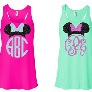 Minnie Mouse Ears Monogram Tank - Glitter - Any Color - Disney World - Disney Shirt - Cinderella - Vacation - Princess - Monogram