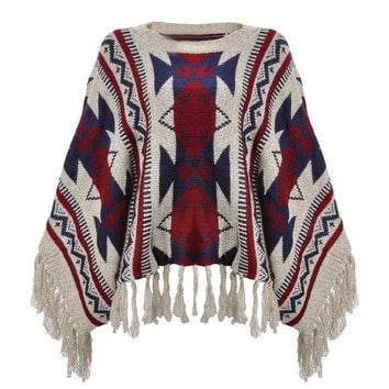 comfortable boho geometric pullover fringe aztec cape sweater 2