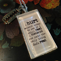 Johnny Cash Necklace, I Hurt Myself Today, Quote Necklace, Lyric Necklace, Johnny Cash Lyrics, Lyrics Pendant, Music Necklace, Music Gift