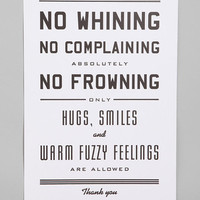 Urban Outfitters Exclusives Hammerpress No Whining Print from Urban Outfitters | BHG.com Shop