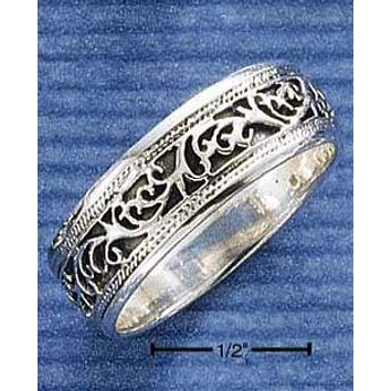 Sterling Silver Ring:  9mm Filigree Band Ring With Antiqued Inset