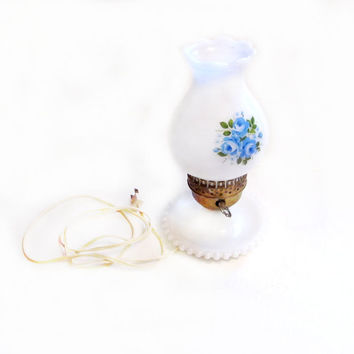 Vintage Milk Glass Hurricane Lamp, White / Blue Flowers