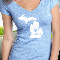 Michigan Home T-Shirt - V-Neck - State Pride - Home Tee - Clothing - Womens - Ladies