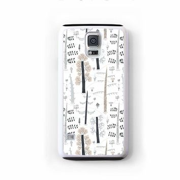 Scandinavian modern trees in black brown on white for Galaxy S5