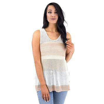 Women's Crochet Knit Stripe Tunic Tank