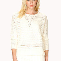 Open-Knit Dropped Shoulder Sweater