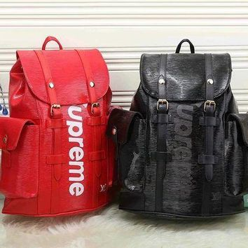 PEAPUP0 LV x Supreme Fashion Leather Backpack Travel Bag Purse Wallet Card Bag Set Four-Piece