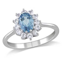 Oval Aquamarine and Lab-Created White Sapphire Ring in Sterling Silver