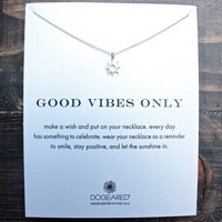 "dogeared ""Reminder - Good Vibes Only"" dainty necklace in sterling silver"